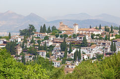Granada - The look to The Albayzin district and Saint Nicholas church from Generalife gardens of Alhambra Stock Image
