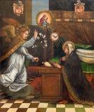 Granada - målningen av förklaringen i kyrkliga Monasterio de la Cartuja av den okända konstnären i Sala Capitular Arkivbilder