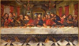 Granada - målningen för sista kvällsmål av Juan de Sevilla Romero (1643 - 1695) i matsal av kyrkliga Monasterio de San Jeronimo royaltyfri foto