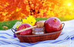 Granada, manzana y miel, comida tradicional de la celebración judía del Año Nuevo, Rosh Hashana Foto de archivo