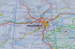 Granada on map. Close up shot of Granada on map, Spain Stock Image