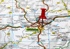 Granada. Map with pin point of granada in spain stock photo