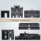 Granada-Marksteine und -monumente stock abbildung