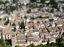 Granada - medieval christian and muslim town - tilt shift picture Stock Photo