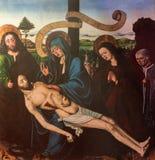 Granada - The medieval paint of Pieta in church Nuestra Senora de las Angustias Stock Photography