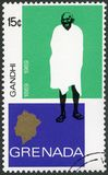 GRANADA - 1969: mostra o retrato de Mohandas Karamchand Gandhi 1869-1948, aniversário 100 anos de Mahatma Gandhi Fotografia de Stock Royalty Free