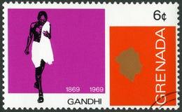 GRANADA - 1969: mostra o retrato de Mohandas Karamchand Gandhi 1869-1948, aniversário 100 anos de Mahatma Gandhi Imagens de Stock