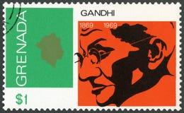 GRANADA - 1969: mostra o retrato de Mohandas Karamchand Gandhi 1869-1948, aniversário 100 anos de Mahatma Gandhi, líder na Índia Fotografia de Stock