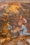 Granada - narodzenie jezusa fresk w kościelnym Monasterio De San Jeronimo Obraz Royalty Free