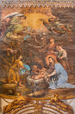 Granada - The Nativity fresco in the church Monasterio de San Jeronimo Royalty Free Stock Image