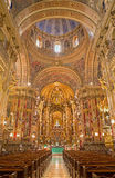 Granada - The nave of  baroque Basilica San Juan de Dios with the frescoes by Diego Sanchez Sarabia Royalty Free Stock Photo