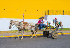 Granada , Nicaragua. MARCH 20 : Horse drawn wagon in Granada Nicaragua on March 20 2016. Granada was founded in 1524 and it's the first European city in Stock Photos