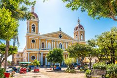 View at the Cathedral Our Lady of the Assumption of Granada from Town Square - Nicaragua royalty free stock photo