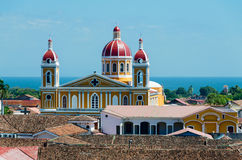 Granada Nicaragua. View of the cathedral of Granada Nicaragua, behind the great lake Nicaragua Stock Photos