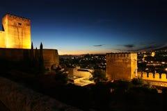 Granada nightview alhambra Fotografia Stock