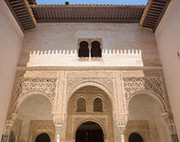 Granada - One of atrium in mudejar Nasrid palace in Alhambra complex. With the typically stucco Royalty Free Stock Photography