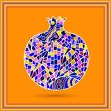 Granada ornamental decorativa hecha de textura de mosaico Ejemplo del vector del logotipo de la fruta Vect dibujado mano abstract Foto de archivo libre de regalías