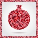 Granada ornamental decorativa hecha de textura de mosaico Ejemplo del vector del logotipo de la fruta Vect dibujado mano abstract Fotografía de archivo