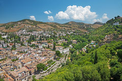 Granada - The outlook over the Albayzin district from Alhambra Royalty Free Stock Photos