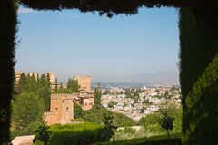 Granada - outlook over the Alhambra from Generalife gardens. Royalty Free Stock Photo