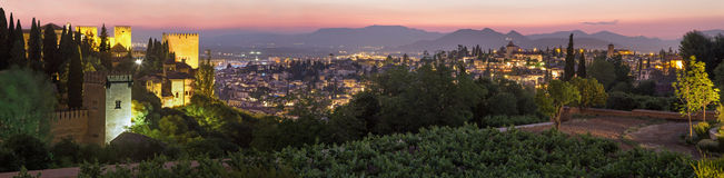 Granada - The outlook over the Alhambra and the town from Genera Royalty Free Stock Photo