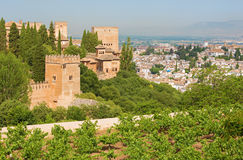 Granada - The outlook over the Alhambra and the town from Generalife gardens Royalty Free Stock Photography