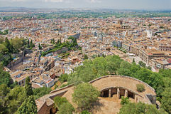 Granada - The outlook over the town from Alhambra Royalty Free Stock Photography