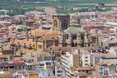 Granada - The outlook over the town with the Cathedral from Alhambra Royalty Free Stock Photos