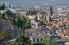 Granada - The outlook over the town with the Cathedral Stock Images
