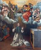 Granada - The painting of Vision of St. Hugo the founder of Carthusians. By Vicente Carducho (1578 - 1638) in Capilla de Legos of church Monasterio de la Royalty Free Stock Photos