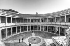 Granada - Palace of Charles V. The Palace of Charles V is a Renacentist construction in Granada, southern Spain, located on the top of the hill of the Assabica Stock Photo
