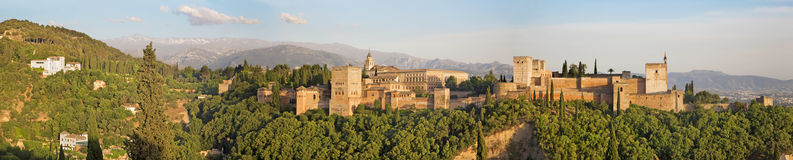 Granada - The panorama of Alhambra palace Royalty Free Stock Photography