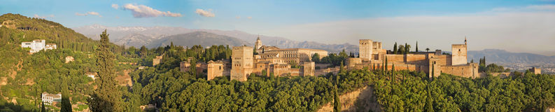 Granada - The panorama of Alhambra palace and fortress complex Stock Image