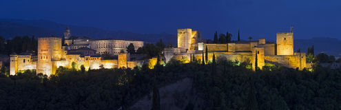 Granada - The panorama of Alhambra palace and fortress complex Stock Images