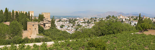 Granada - The panorama of Alhambra and the town from Generalife gardens Stock Photography