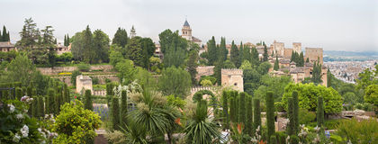 Granada - The panorama of Alhambra and the town from Generalife gardens Stock Images