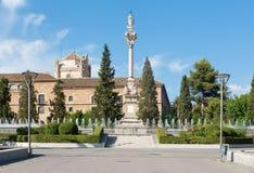 Granada - Plaza del Triumfo. With the baroque column of Hl. Mary Stock Photo