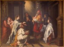 Granada - prezentacja Chrystus w Świątynnym obrazie burdą Juan Sanchez Cotan w kościelnym Monasterio De Los angeles Cartuja obrazy royalty free