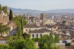 Granada - prospettiva sopra la città con la cattedrale Fotografie Stock