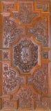 Granada - rzeźbiący barokowy drzwi bazylika San Juan De Dios Zdjęcia Stock