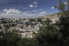 Granada scenery. The view of Granada's quarter Albayzín. Albayzín (also Albaicín or El Albaicín) is a district of present day Granada, in the autonomous Royalty Free Stock Images