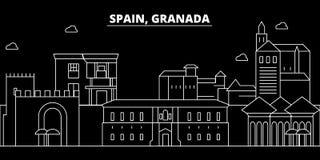 Granada-Schattenbildskyline Spanien- - Granada-Vektorstadt, spanische lineare Architektur, Gebäude Granada-Reise vektor abbildung