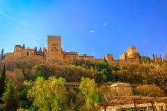 Granada, spagna Fortezza araba antica di Alhambra fotografia stock