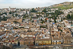 Granada, Spain. Wide angle view of Granada town in Andalusia royalty free stock images