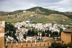 Granada. Spain. View of Granada city from Alhambra fortress. Sacramonte district is on the background Stock Image