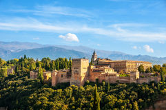 Granada, Spain. Aerial view of Alhambra Palace. In Granada, Spain with Sierra Nevada mountains at the background during the sunny day Royalty Free Stock Photography
