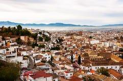 Granada, Spain. Aerial view of Granada in the morning royalty free stock photo