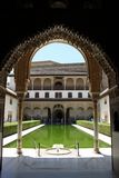 Courtyard of the Myrtles in day time at Alhambra stock photography