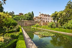 Gardens of La Alhambra in Granada, Spain stock photography