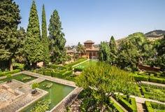 Gardens of La Alhambra in Granada, Spain royalty free stock photos